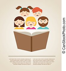 family reading a book. illustration with place for your text