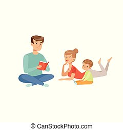 Family reading a book together, happy family and parenting concept vector Illustration on a white background