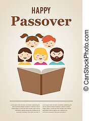family reading hagada book at passover holiday, illustration...