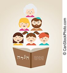 family reading hagada book at passover holiday, illustration...