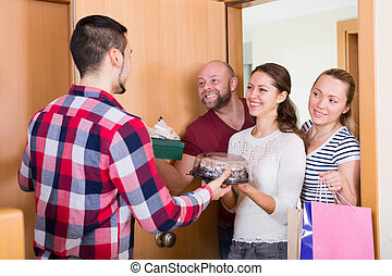 Family receiving visitors
