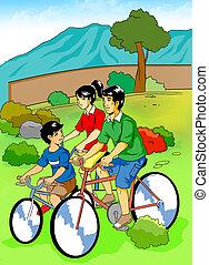 Family Recreation - Cartoon illustration of a family cycling...