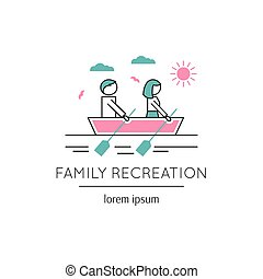 Family recreation line icon