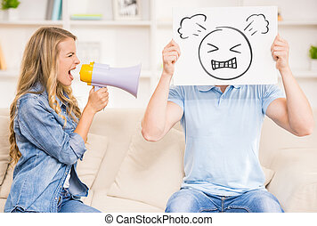 Family relations - Wife shouting on her husband with...