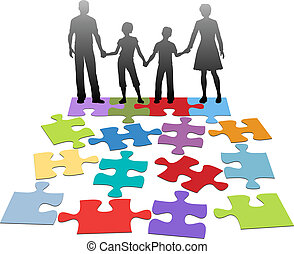 Family relationship problem counsel - Puzzle pieces symbols...