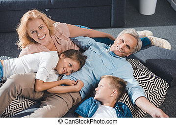 family relaxing together