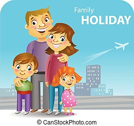 Four family members going for a trip, vector illustration.