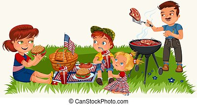 family resting in park or garden, dad grilling meat on grill, mum holding baby, girls play on green grass with kite and American flags, man and woman on picnic patriotic vector illustration