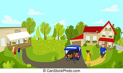 Family returns home from local grocery store, people vector illustration