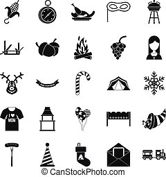 Family reunion icons set, simple style