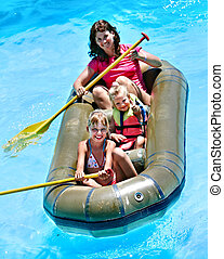 Family ride rubber boat. - Family with children ride rubber...