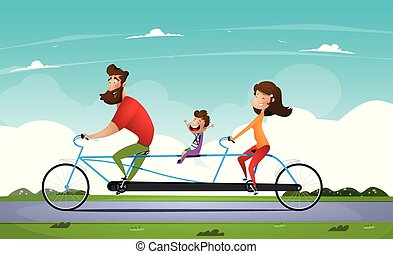 Family riding a bicycle in the park. Tandem bike.