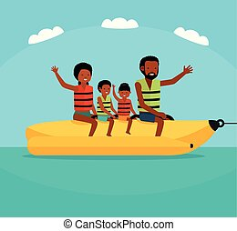 Family riding banana boat. Summer vacation time vector illustration. Sea tour. African american family. Flat cartoon illustration.