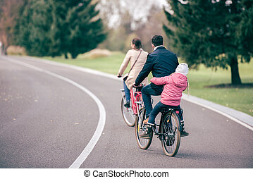 Family riding bicycles in park