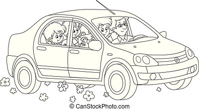 Family riding by car - Black and white vector illustrations ...