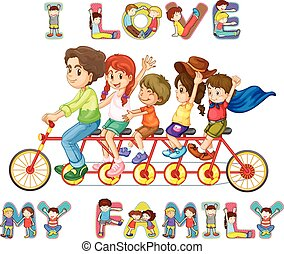 Family riding on bike together