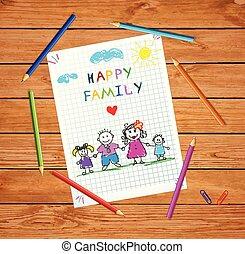 family., rodzice, dzierżawa wręcza, children., szczęśliwy