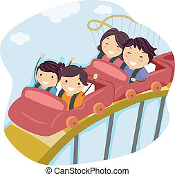 Family Roller Coaster - Illustration of a Family Riding a...