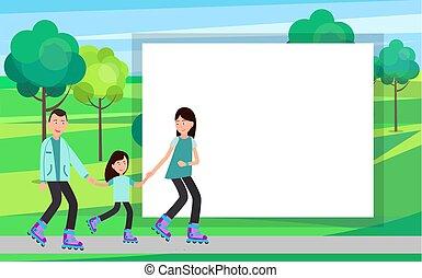 Family Roller Skating Together Vector in Park