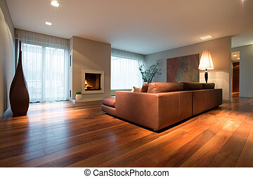 Family room - Spacious family room with wooden floor