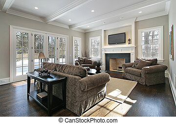 Family room with back yard view - Family room in luxury home...