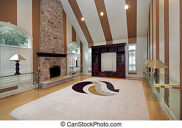Family room in suburban home with striped walls