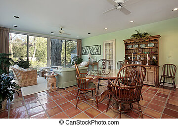 Family room with terra cotta floor - Family room in suburban...