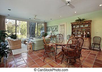 Family room with terra cotta floor - Family room in suburban...