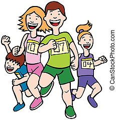 Cartoon of a family running together in a racing event.