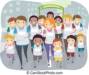 Family Run - Illustration of a Family Participating in a Fun...