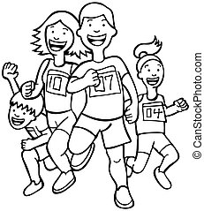Family Run Line Art - Cartoon of a family running together...