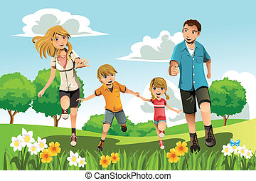 Family running in park - A vector illustration of a family ...