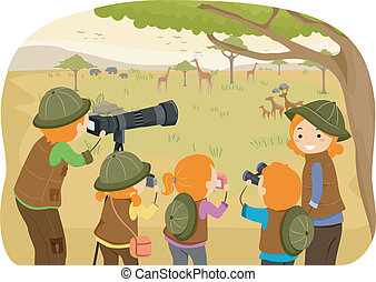 Family Safari - Illustration of a Family Enjoying a Safari...
