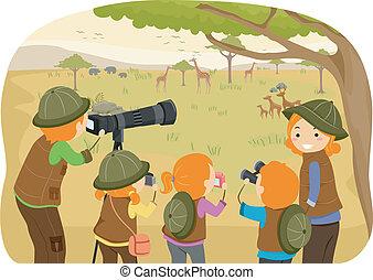 Family Safari - Illustration of a Family Enjoying a Safari...