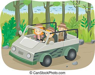 Family Safari Tour - Illustration of a Family on a Safari ...