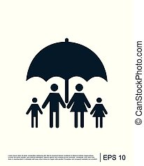 Family safe insurance sign icon