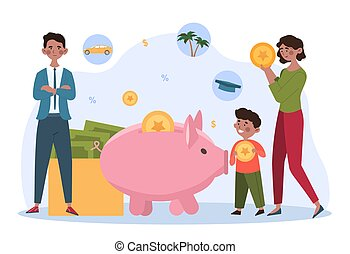Family saving money concept