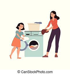Family scene a daughter helps her mother at home flat vector illustration isolated.