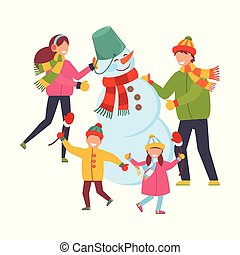 Family sculpts snowman. Merry Christmas and Happy New Year. Xmas Poster, banner, printed products, greeting card. Vector illustration