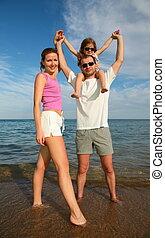 family sea beach