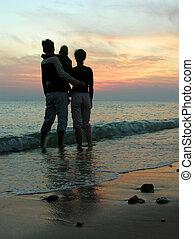 family., sea., sunrise.