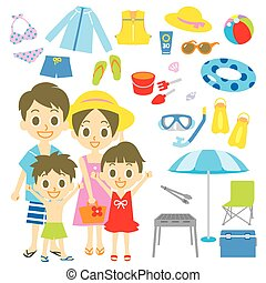 Family seaside pool resort items, vector file