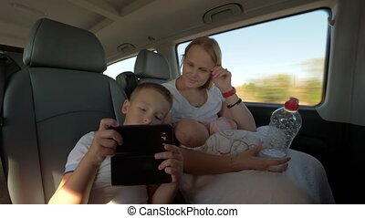 Family selfie during car ride