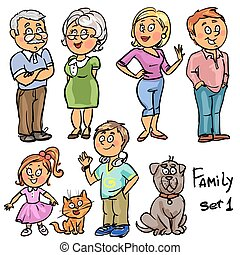 Family - set 1, Hand drawn comic family members isolated,...