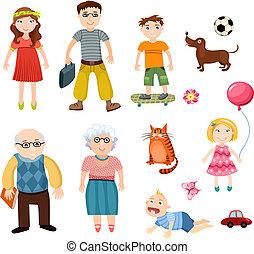 family set - illustration of a cute family set