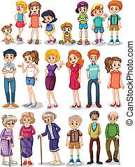 Family set - Illustration of a set of family