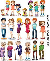 Family set - Illustration of a set of family