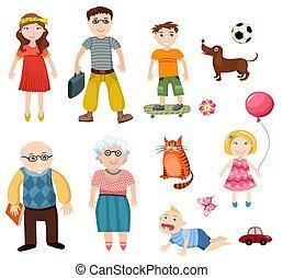 family set - illustration of a happy family set