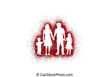 Family shape on red glitter isolated on white background