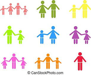 collection of parent and family icon shapes isolated on white